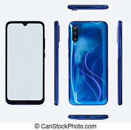 Set of different views of blue smartphone