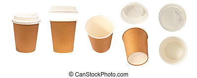 Set of different views of paper cup