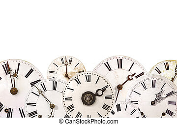 Set of different vintage clocks isolated on white