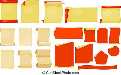 Set of different vintage paper sheets on a white background. Vector illustration