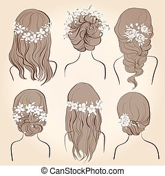 set of different vintage style hairstyles, wedding hairstyles, hair styles with flowers, sketch hairstyle head female isolated on a beige background