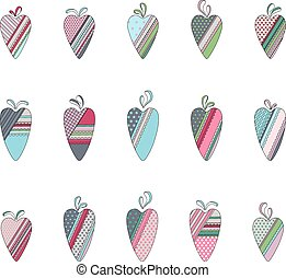 Set of different vintage tilda hearts isolated on white. Pastel colors.