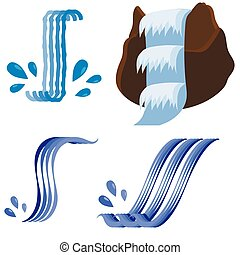 Set of Different Waterfalls Icons Isolated on White...