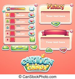 Set of different windows for the user interface of computer games