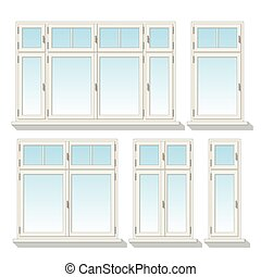 Set of different windows