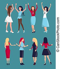 Set of Different Women Icons Vector Illustration