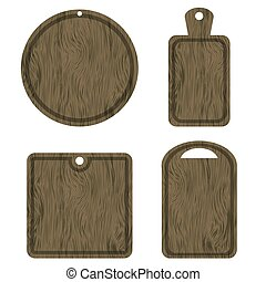 Set of Different Wood Cutting Boards Isolated on White...