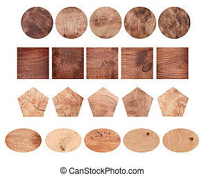 Set of different wooden shapes on white background