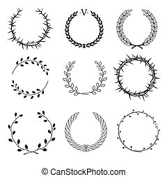 Set of different wreaths - Set of different circular wreaths...