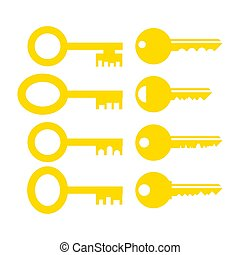 Set of Different Yellow Key Icon