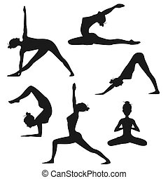 Set of different yoga poses. Female silhouettes isolated on white background
