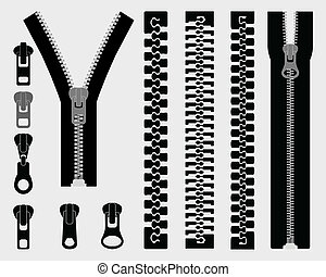 Set of different zipper black symbols, vector