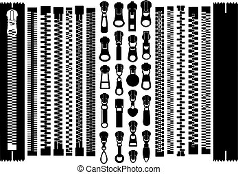 Set of different zippers isolated on white