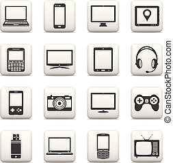 Set of digital devices and electronic gadgets icons. Web...