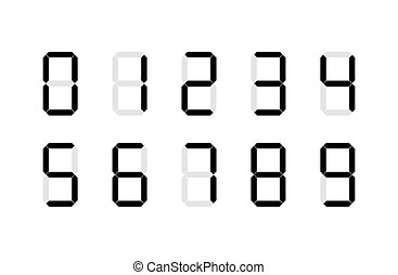 Set of digital number signs made up from seven segments on white