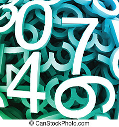 Set of digital numbers. Vector blue background