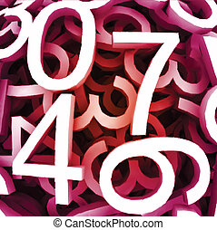 Set of digital numbers. Vector red background
