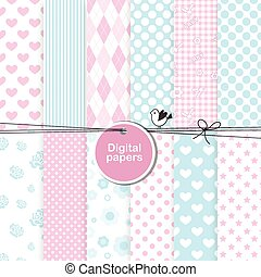 Set of digital paper - wallpaper