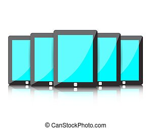Set of digital tablets with blue blank screen
