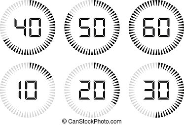 Set of digital timer, clock and watch for design. Vector illustration