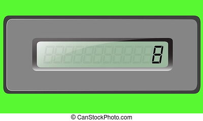 Set of digits on the addition calculator on a green background