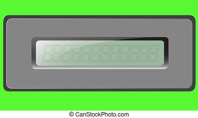 Set of digits on the multiplication calculator on a green background