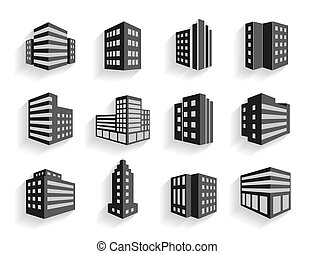 Set of dimensional buildings icons in grey and white with ...
