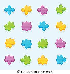 Set of dimensional puzzle pieces