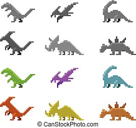 Set of dinosaur icons in color pixel style, vector