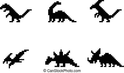 Set of dinosaur icons in silhouette pixel style