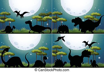 Set of dinosaur in nature background