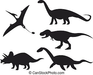 Set of dinosaur silhouettes isolated on white background. Vector illustration.