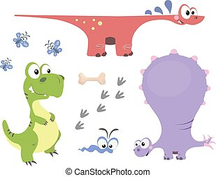 Set of dinosaurs 1 - Set of cute dinosaurs in cartoon style....