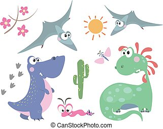 Set of dinosaurs 3 - Set of cute dinosaurs in cartoon style....