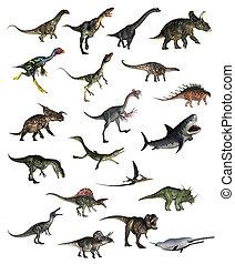 Set of dinosaurs - 3D render - Set of dinosaurs in white...