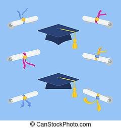 Set of diplomas and graduation cap. Congratulations graduates.