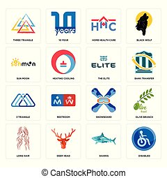 Set of disabled, sharks, long hair, snowboard, 3 triangle, the elite, sun moon, home health care, three triangle icons