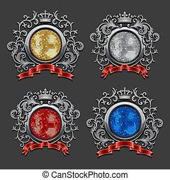 Set of disco balls. Coat of arms.
