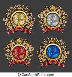 Set of disco balls. Coat of arms