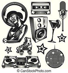 Set of disco elements
