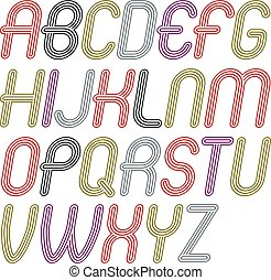 Set of disco vector upper case alphabet letters isolated. Trendy cursive rounded font, script from a to z can be used in poster creation. Made with geometric parallel triple lines.