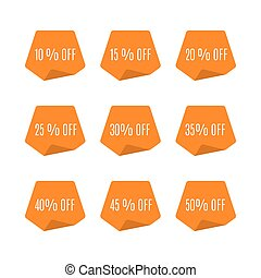 Set of discount labels, vector illustration.