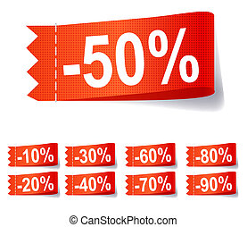 Set of discount labels. Vector illustration.