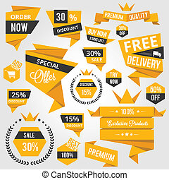 Set of Discount Sale Concept Labels and Stickers Yellow