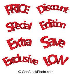 set of discount text 3d