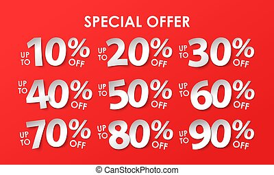 Set of discount with percents in paper style