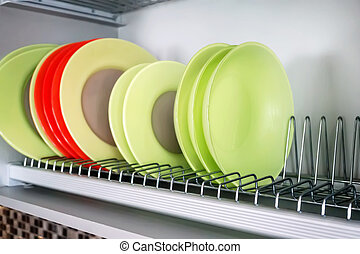 Set of dishes on the rack