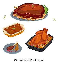 Set of dishes with baked bird isolate on a white background. Vector graphics.