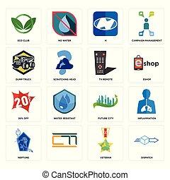Set of dispatch, veteran, neptune, future city, 20% off, tv remote, dump truck, h, eco club icons