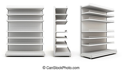 Set of displays with shelves on white